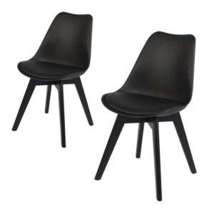 Mia sort spisebordsstole med sort ben.