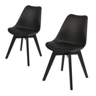 Mia sort spisebordsstol med sorte ben
