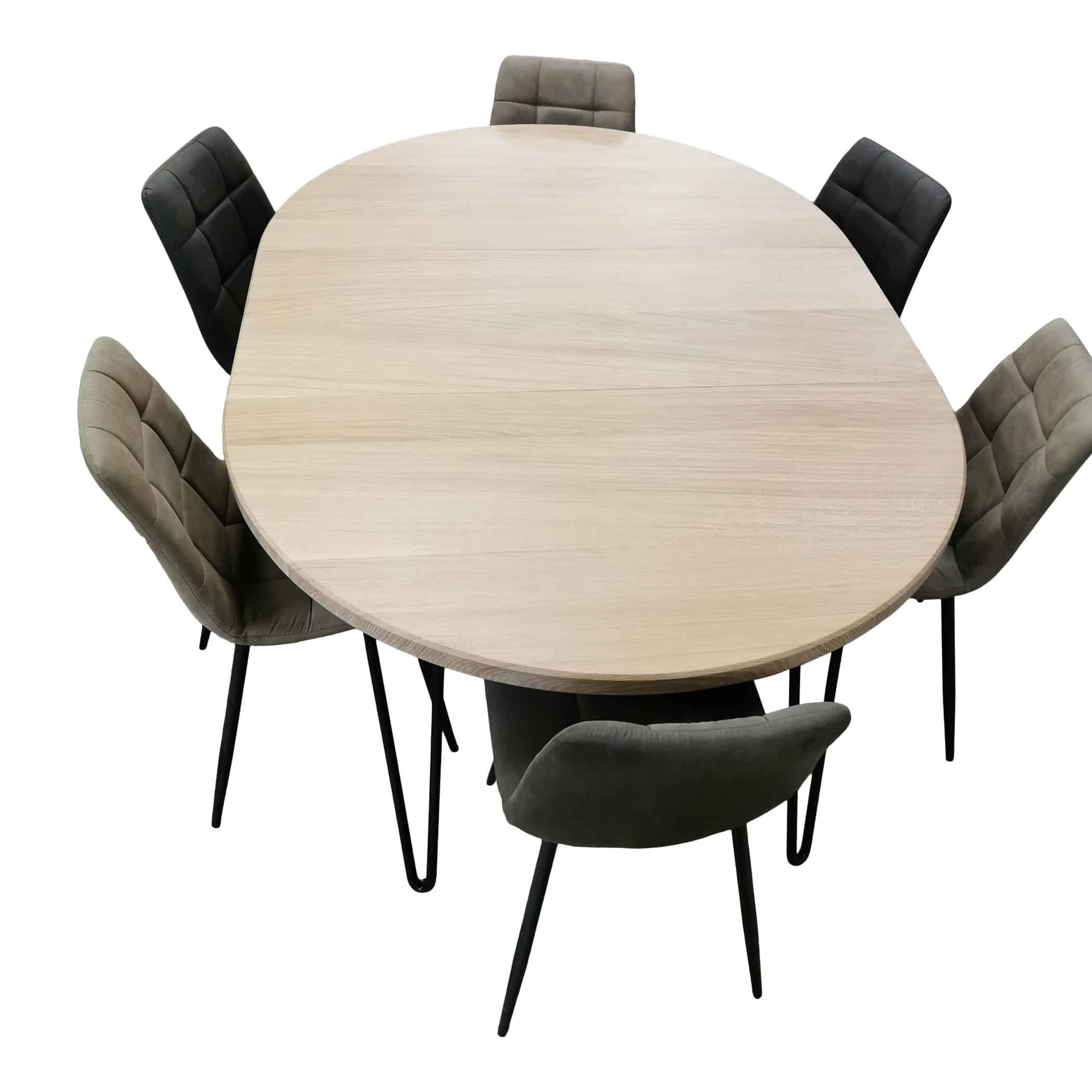 Spisebord rundt bord Eg med udtræk Ø 90 230 cm