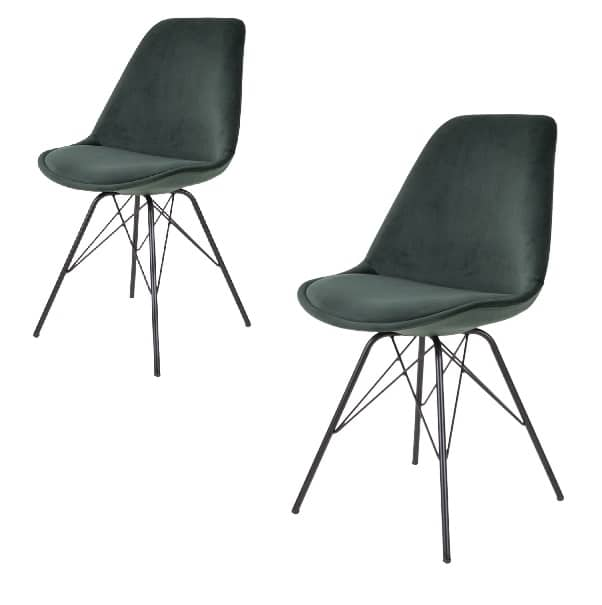 Tidsmæssigt Comfort spisebordsstol - Grøn velour - 2 Stk. - Køb her - Planke DX-44