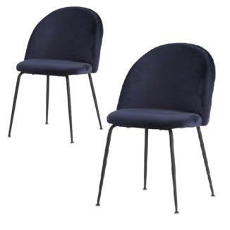 Geneve spisebordsstol blå med sorte ben