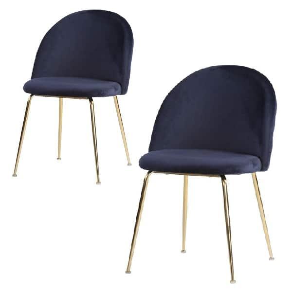 Geneve spisebordsstol blå velour