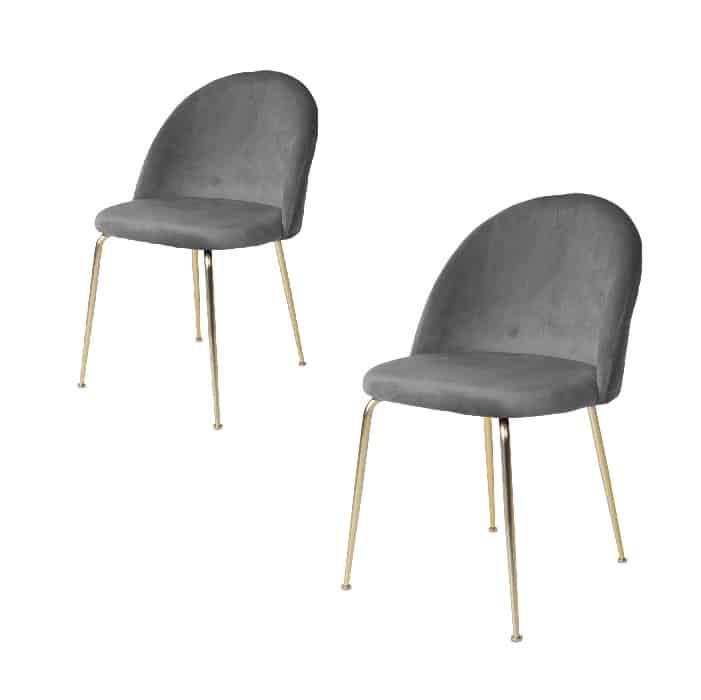 Geneve spisebordsstol grå-messing