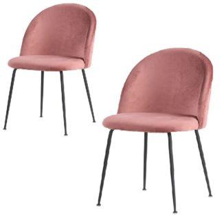 eneve spisebordsstol rosa med sorte ben