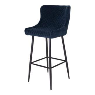 Dallas barstol blå velour
