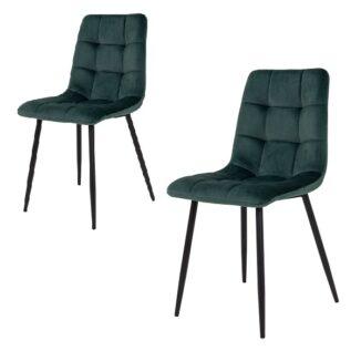 Ellen spisebordsstol - Grøn velour - Sort - 2 Stk.