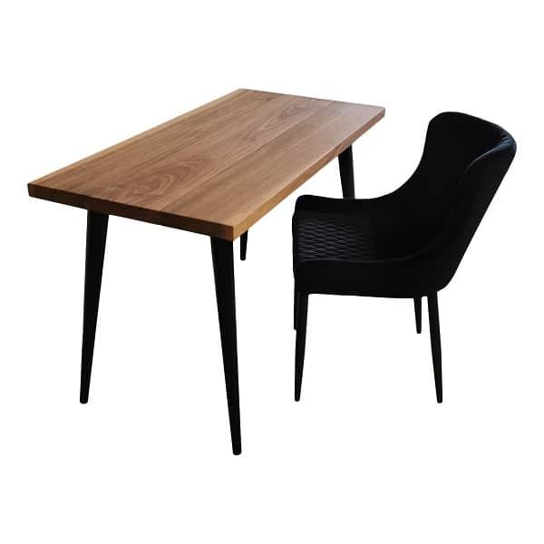 Skrivebord i amerikansk valnød med sort konisk ben (2)