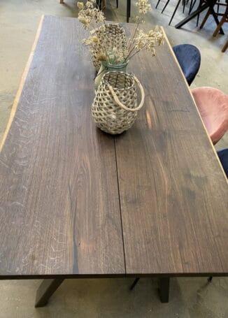 Plankebord, røget eg, natur olie, naturkant, 90x180cm